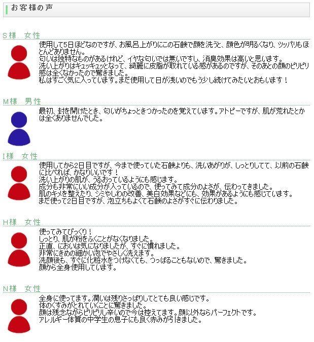 スキンケア石鹸『紗香』 クチコミ 口コミ 感想 評価